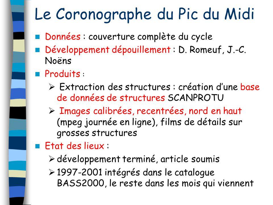 Le Coronographe du Pic du Midi Données : couverture complète du cycle Développement dépouillement : D. Romeuf, J.-C. Noëns Produits : Extraction des s
