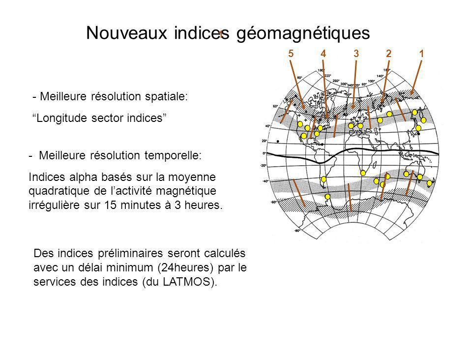 Nouveaux indices géomagnétiques 54321 1 - Meilleure résolution spatiale: Longitude sector indices - Meilleure résolution temporelle: Indices alpha bas