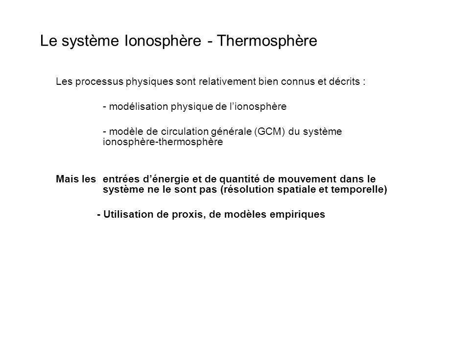 Les processus physiques sont relativement bien connus et décrits : - modélisation physique de lionosphère - modèle de circulation générale (GCM) du sy