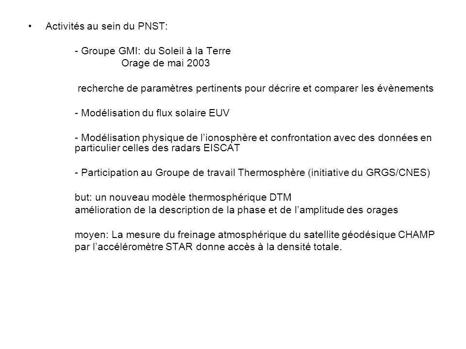 Activités au sein du PNST: - Groupe GMI: du Soleil à la Terre Orage de mai 2003 recherche de paramètres pertinents pour décrire et comparer les évènem