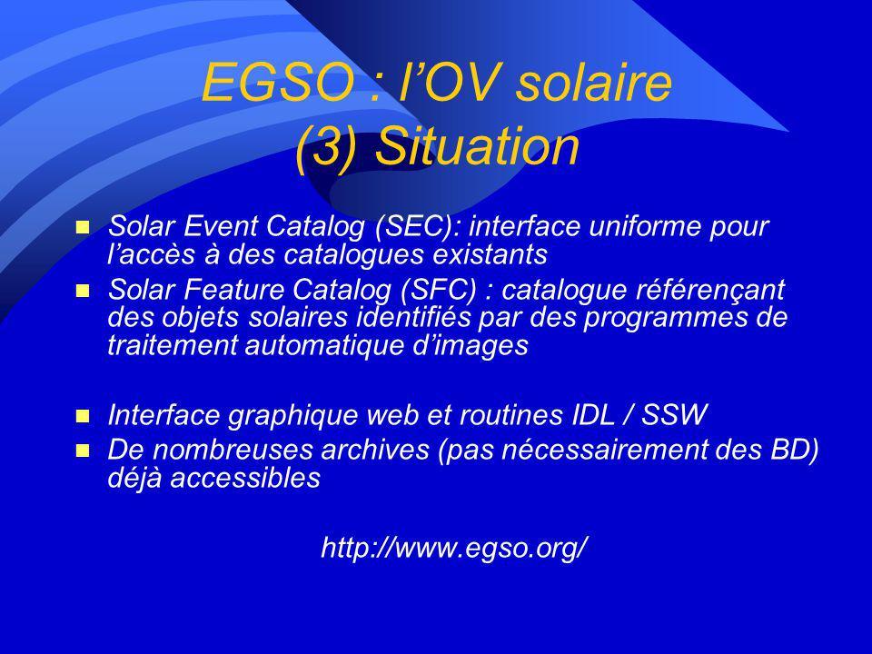 EGSO : SFC : plus-value forte n Régions actives (facules) n Taches solaires n Filaments n Protubérances n Trous coronaux (en cours) Traitement de 1996 à 2004 inclus Le descriptif des structures est stocké dans une base de données à laquelle accède EGSO