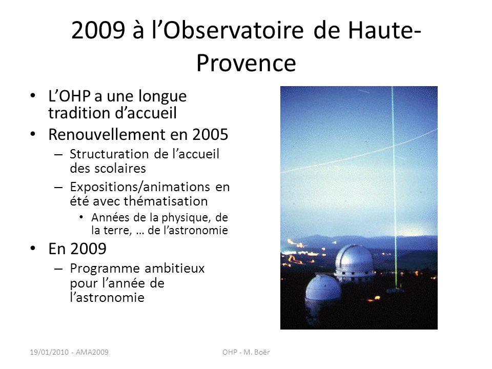2009 à lObservatoire de Haute- Provence LOHP a une longue tradition daccueil Renouvellement en 2005 – Structuration de laccueil des scolaires – Expositions/animations en été avec thématisation Années de la physique, de la terre, … de lastronomie En 2009 – Programme ambitieux pour lannée de lastronomie 19/01/2010 - AMA2009OHP - M.