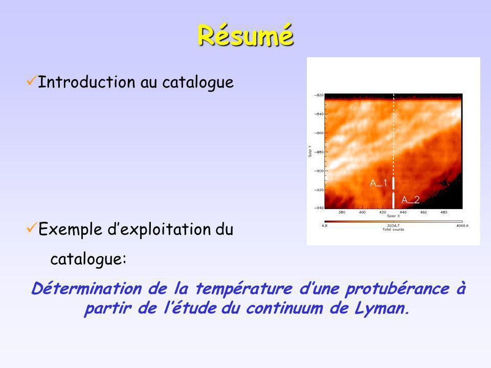 Résumé Introduction au catalogue Exemple dexploitation du catalogue: Détermination de la température dune protubérance à partir de létude du continuum