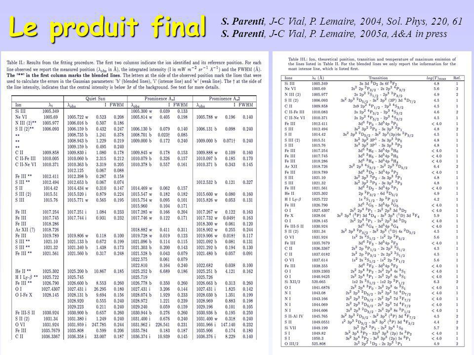 Le produit final S. Parenti, J-C Vial, P. Lemaire, 2004, Sol. Phys, 220, 61 S. Parenti, J-C Vial, P. Lemaire, 2005a, A&A in press