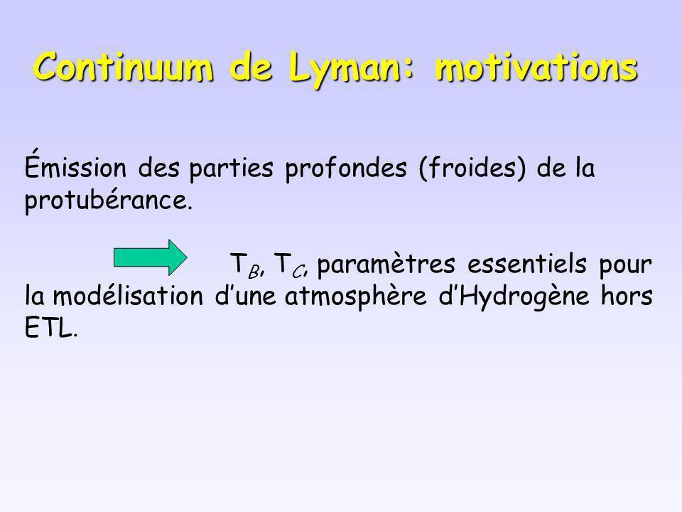 Continuum de Lyman: motivations Émission des parties profondes (froides) de la protubérance. T B, T C, paramètres essentiels pour la modélisation dune