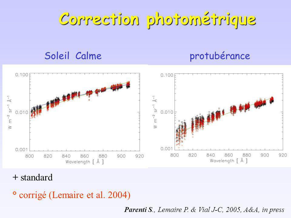 Soleil Calmeprotubérance Parenti S., Lemaire P. & Vial J-C, 2005, A&A, in press Correction photométrique + standard ° corrigé (Lemaire et al. 2004)