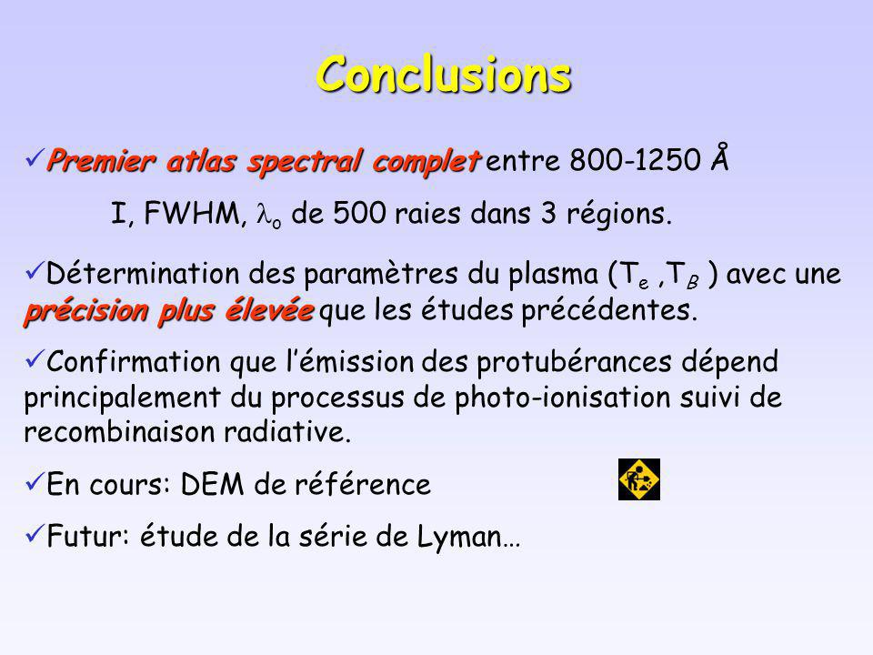 Conclusions Premier atlas spectral complet Premier atlas spectral complet entre 800-1250 Å I, FWHM, o de 500 raies dans 3 régions. précision plus élev