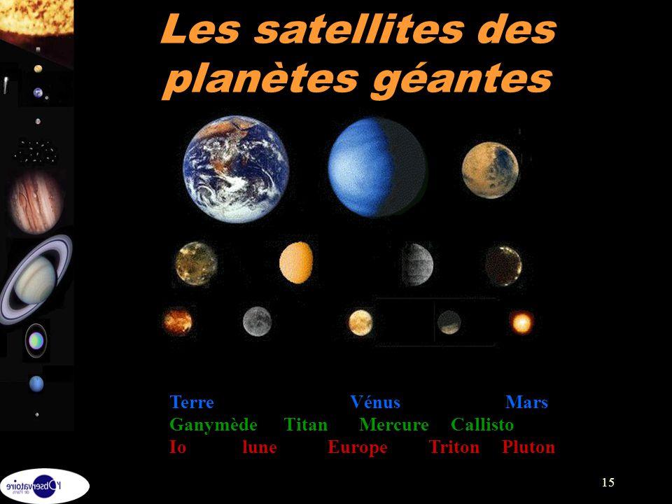 15 Les satellites des planètes géantes Terre Vénus Mars Ganymède Titan Mercure Callisto Io lune Europe Triton Pluton