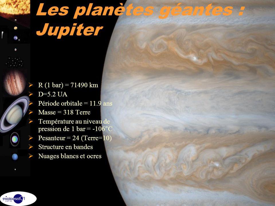 2 Les planètes géantes : Jupiter R (1 bar) = 71490 km D=5.2 UA Période orbitale = 11.9 ans Masse = 318 Terre Température au niveau de pression de 1 ba