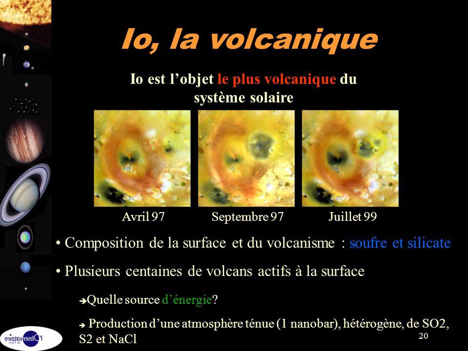 20 Io, la volcanique Composition de la surface et du volcanisme : soufre et silicate Plusieurs centaines de volcans actifs à la surface Quelle source