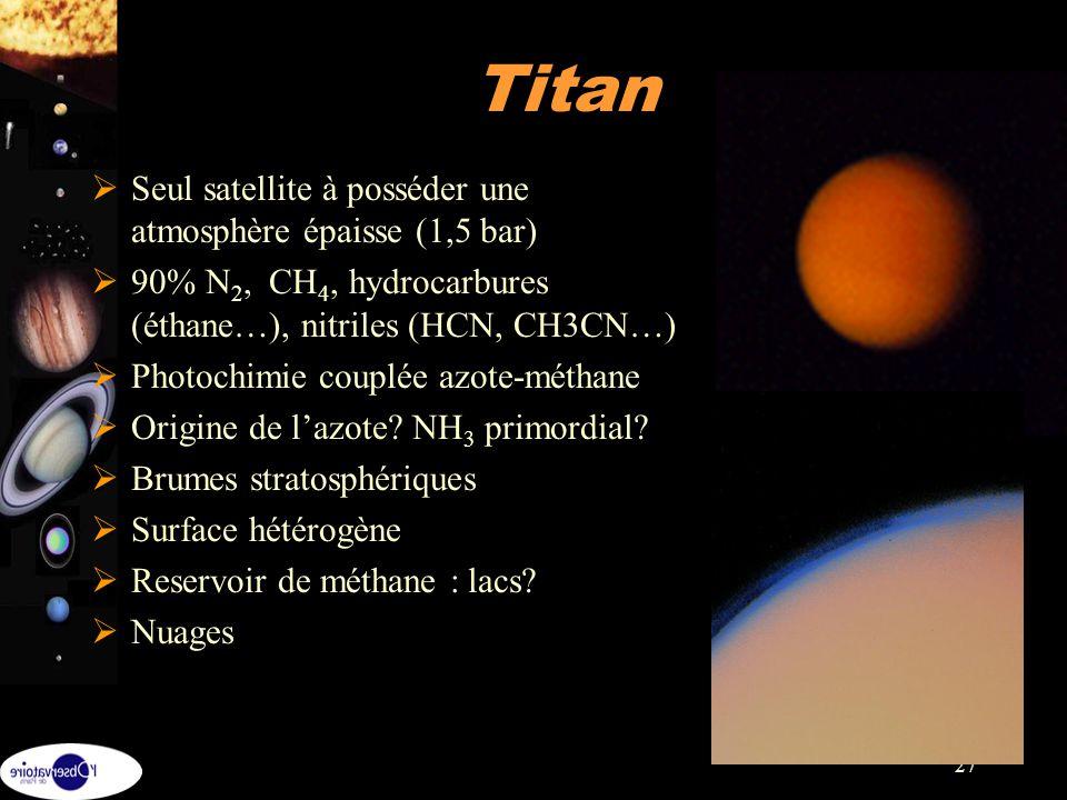 27 Seul satellite à posséder une atmosphère épaisse (1,5 bar) 90% N 2, CH 4, hydrocarbures (éthane…), nitriles (HCN, CH3CN…) Photochimie couplée azote