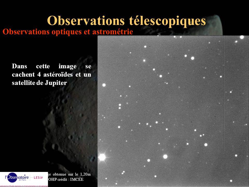 Alain Doressoundiram14 Observations télescopiques Dans cette image se cachent 4 astéroïdes et un satellite de Jupiter image obtenue sur le 1,20m de lO