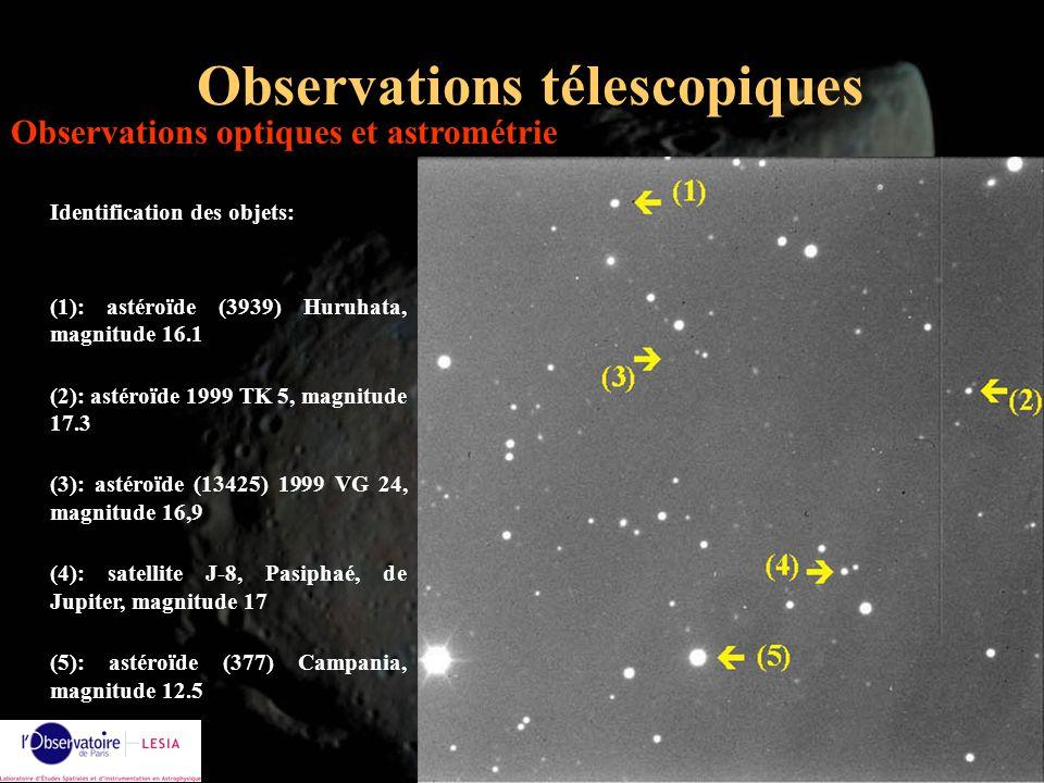 Alain Doressoundiram16 Observations télescopiques Identification des objets: (1): astéroïde (3939) Huruhata, magnitude 16.1 (2): astéroïde 1999 TK 5,