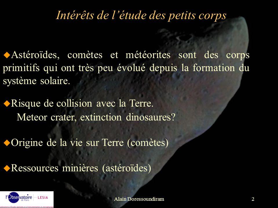 Alain Doressoundiram33 Météore ou étoile filante: phénomène lumineux associé au passage dun corps dans la haute atmosphère météorites: fragment dastéroïde qui arrive intact sur Terre.