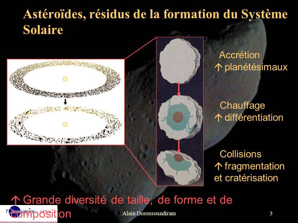 Alain Doressoundiram3 Astéroïdes, résidus de la formation du Système Solaire á Grande diversité de taille, de forme et de composition Accrétion á plan