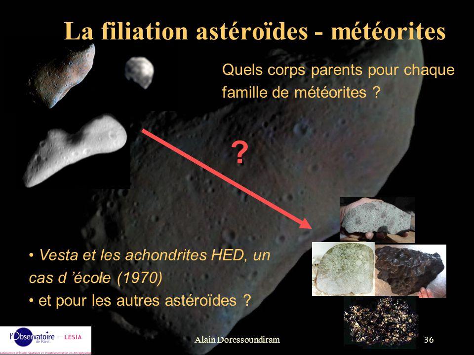 Alain Doressoundiram36 ? Vesta et les achondrites HED, un cas d école (1970) et pour les autres astéroïdes ? Quels corps parents pour chaque famille d