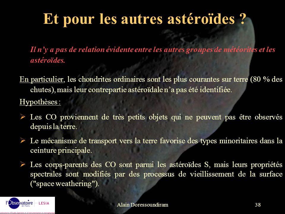 Alain Doressoundiram38 Et pour les autres astéroïdes ? Il ny a pas de relation évidente entre les autres groupes de météorites et les astéroïdes. En p