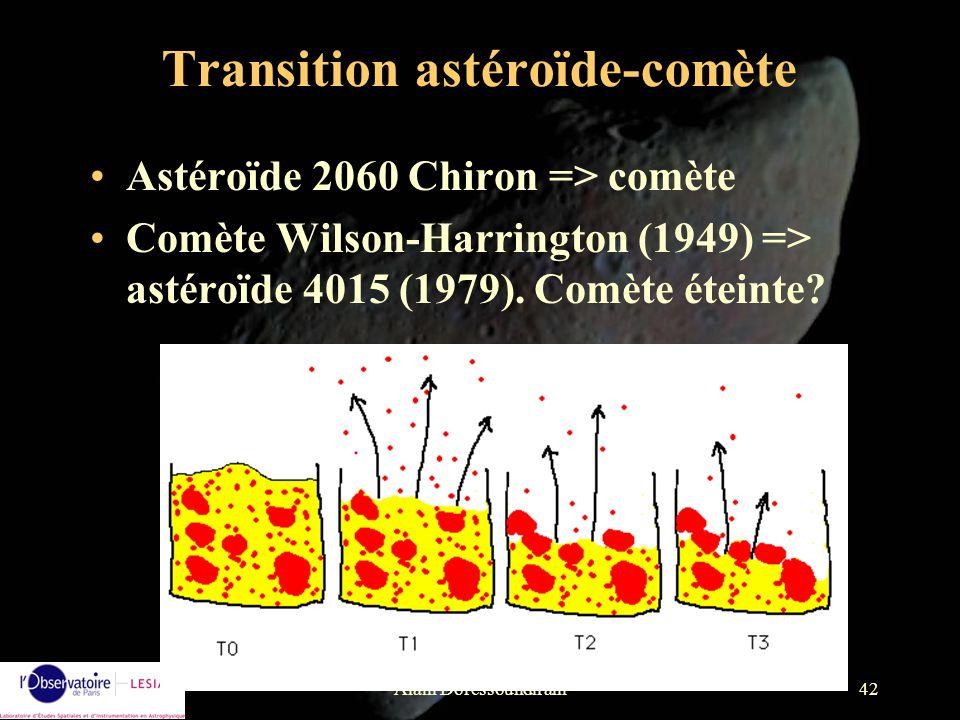 Alain Doressoundiram42 Transition astéroïde-comète Astéroïde 2060 Chiron => comète Comète Wilson-Harrington (1949) => astéroïde 4015 (1979). Comète ét