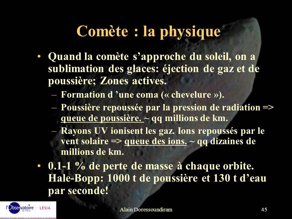 Alain Doressoundiram45 Quand la comète sapproche du soleil, on a sublimation des glaces: éjection de gaz et de poussière; Zones actives. –Formation d