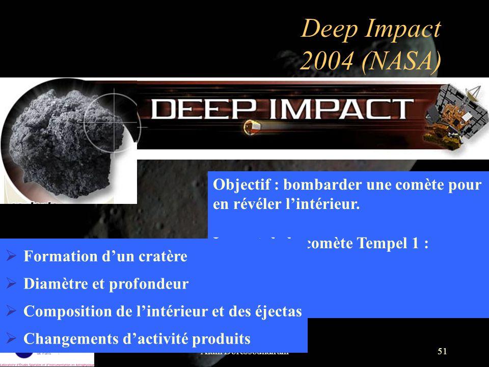 Alain Doressoundiram51 Deep Impact 2004 (NASA) Objectif : bombarder une comète pour en révéler lintérieur. Impact de la comète Tempel 1 : juillet 2005
