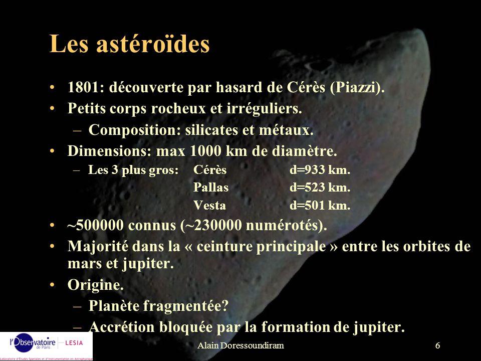 Alain Doressoundiram6 1801: découverte par hasard de Cérès (Piazzi). Petits corps rocheux et irréguliers. –Composition: silicates et métaux. Dimension