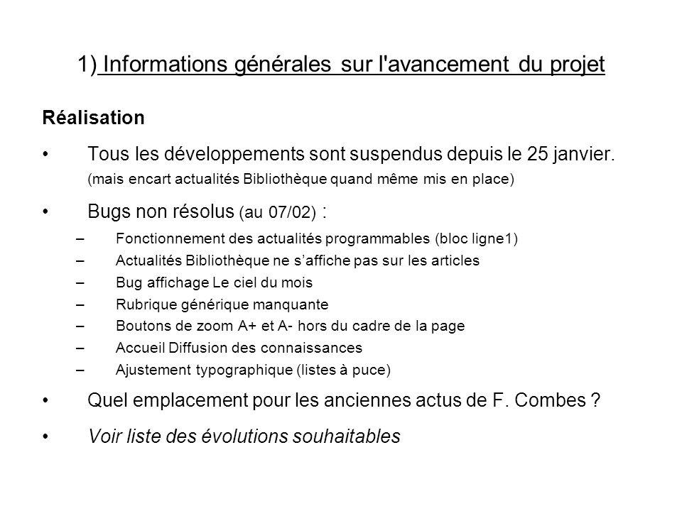 1) Informations générales sur l avancement du projet Réalisation Tous les développements sont suspendus depuis le 25 janvier.