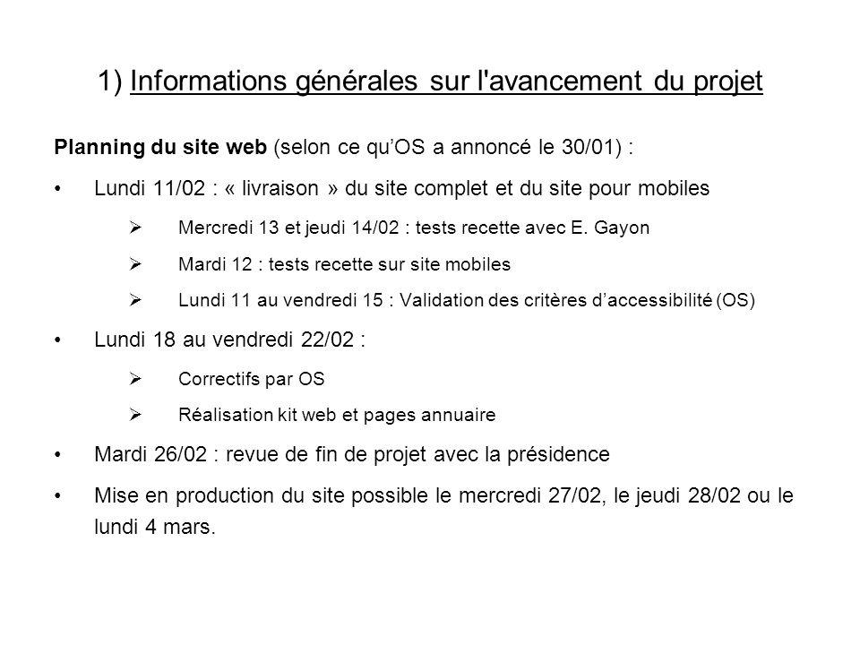 1) Informations générales sur l avancement du projet Planning du site web (selon ce quOS a annoncé le 30/01) : Lundi 11/02 : « livraison » du site complet et du site pour mobiles Mercredi 13 et jeudi 14/02 : tests recette avec E.