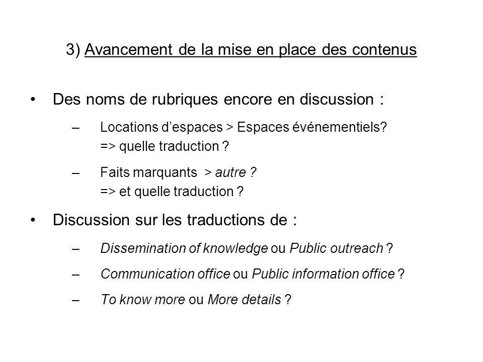 3) Avancement de la mise en place des contenus Des noms de rubriques encore en discussion : –Locations despaces > Espaces événementiels.