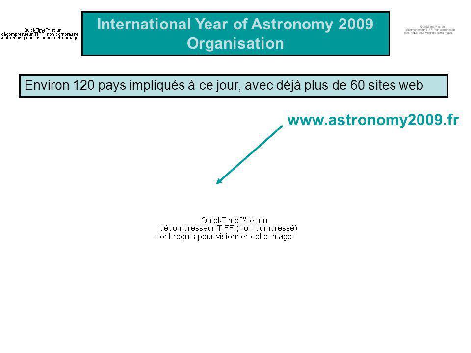 Environ 120 pays impliqués à ce jour, avec déjà plus de 60 sites web International Year of Astronomy 2009 Organisation www.astronomy2009.fr
