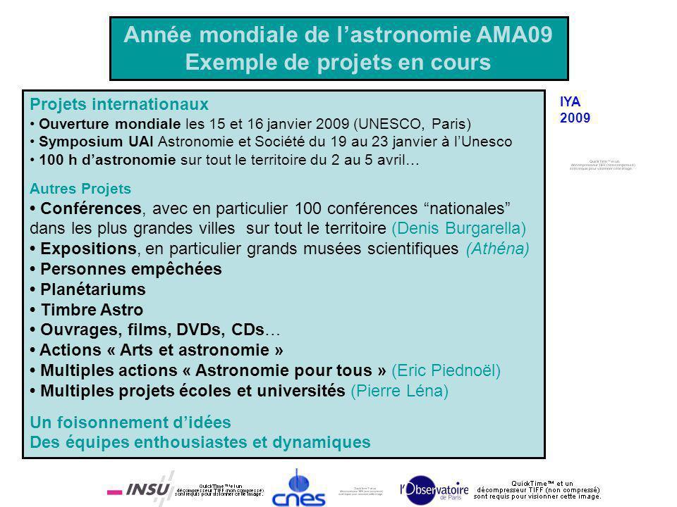 Année mondiale de lastronomie AMA09 Exemple de projets en cours Projets internationaux Ouverture mondiale les 15 et 16 janvier 2009 (UNESCO, Paris) Sy