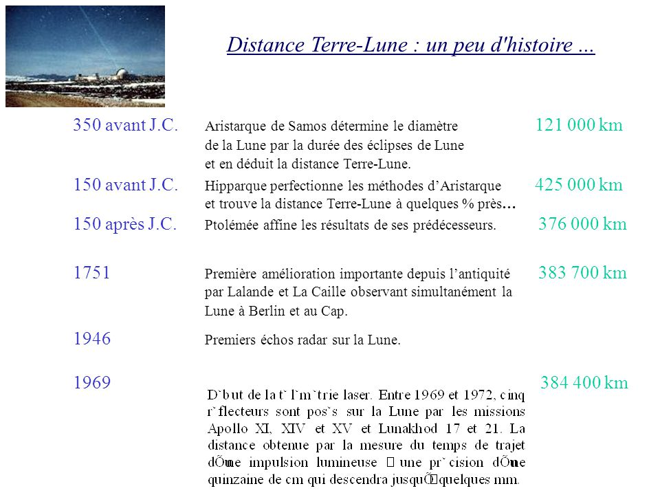Distance Terre-Lune : un peu d'histoire... 350 avant J.C. Aristarque de Samos détermine le diamètre 121 000 km de la Lune par la durée des éclipses de