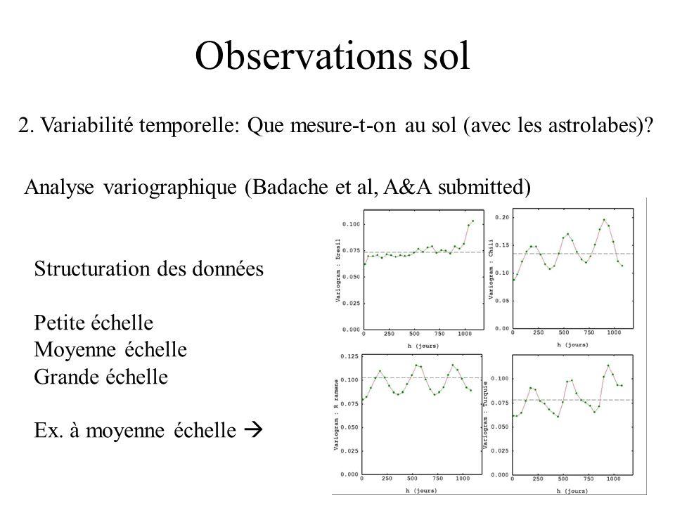 Observations sol 2. Variabilité temporelle: Que mesure-t-on au sol (avec les astrolabes)? Analyse variographique (Badache et al, A&A submitted) Struct