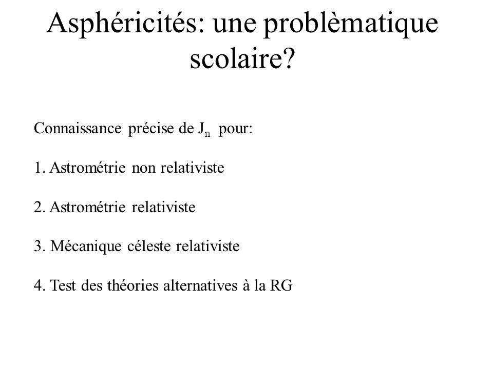 Asphéricités: une problèmatique scolaire? Connaissance précise de J n pour: 1. Astrométrie non relativiste 2. Astrométrie relativiste 3. Mécanique cél