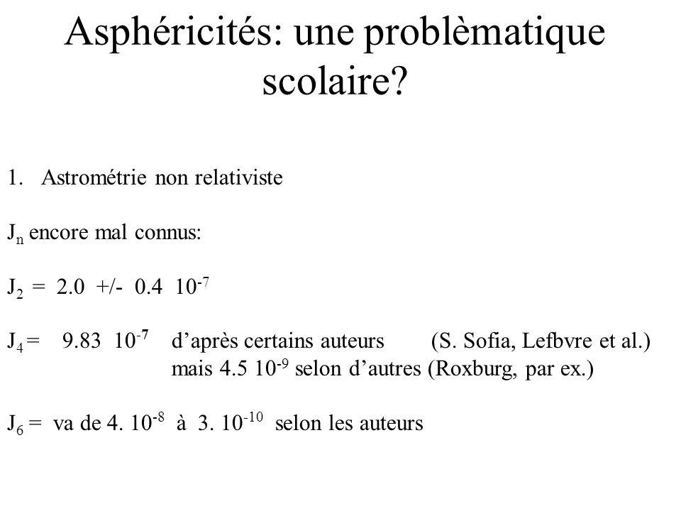 Asphéricités: une problèmatique scolaire? 1.Astrométrie non relativiste J n encore mal connus: J 2 = 2.0 +/- 0.4 10 -7 J 4 = 9.83 10 -7 daprès certain