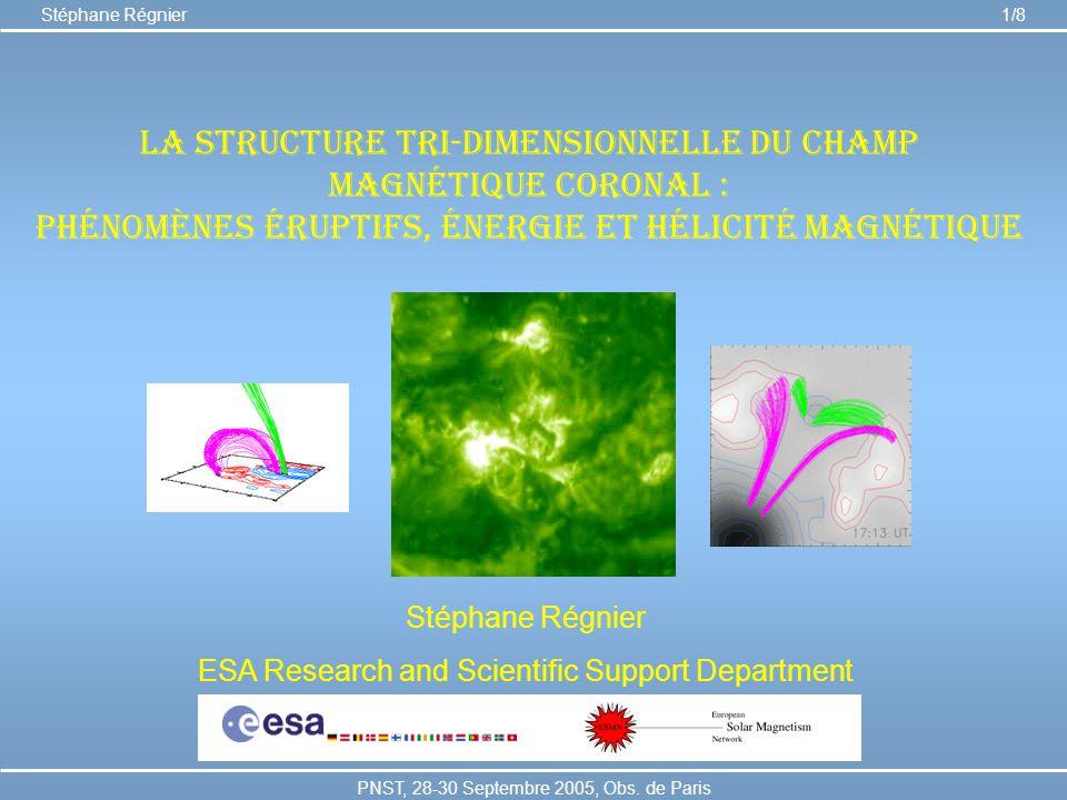La structure tri-dimensionnelle du champ magnétique coronal : phénomènes éruptifs, énergie et hélicité magnétique Stéphane Régnier ESA Research and Sc