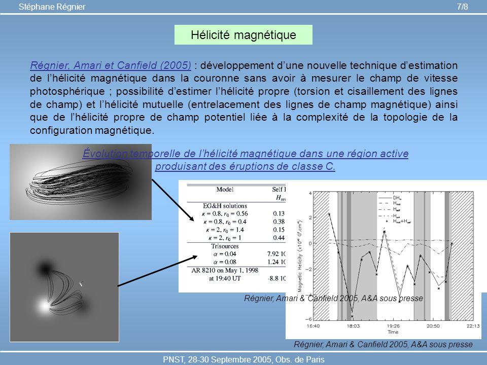 PNST, 28-30 Septembre 2005, Obs. de Paris Stéphane Régnier 7/8 Hélicité magnétique Régnier, Amari et Canfield (2005) : développement dune nouvelle tec