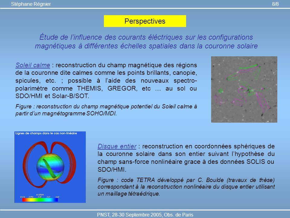 PNST, 28-30 Septembre 2005, Obs. de Paris Stéphane Régnier 8/8 Perspectives Soleil calme : reconstruction du champ magnétique des régions de la couron