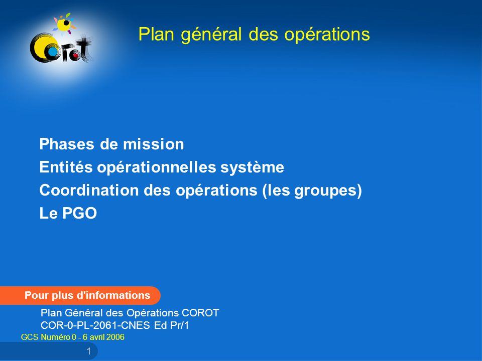 GCS Numéro 0 - 6 avril 2006 1 Phases de mission Entités opérationnelles système Coordination des opérations (les groupes) Le PGO Plan général des opérations Pour plus d informations Plan Général des Opérations COROT COR-0-PL-2061-CNES Ed Pr/1