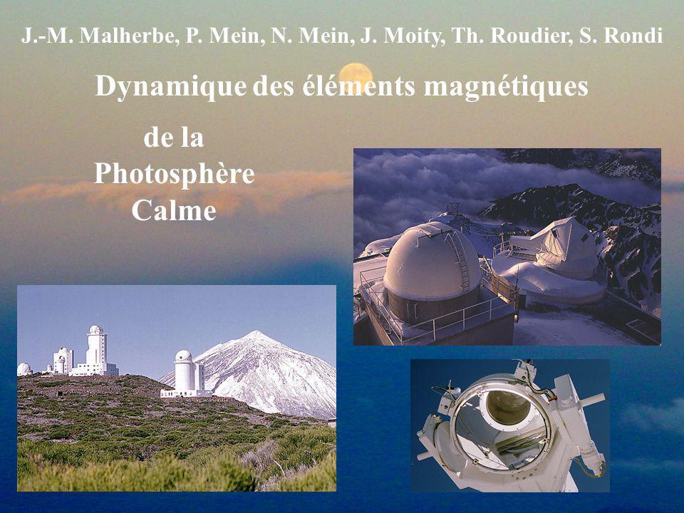 J.-M. Malherbe, P. Mein, N. Mein, J. Moity, Th. Roudier, S. Rondi Dynamique des éléments magnétiques de la Photosphère Calme