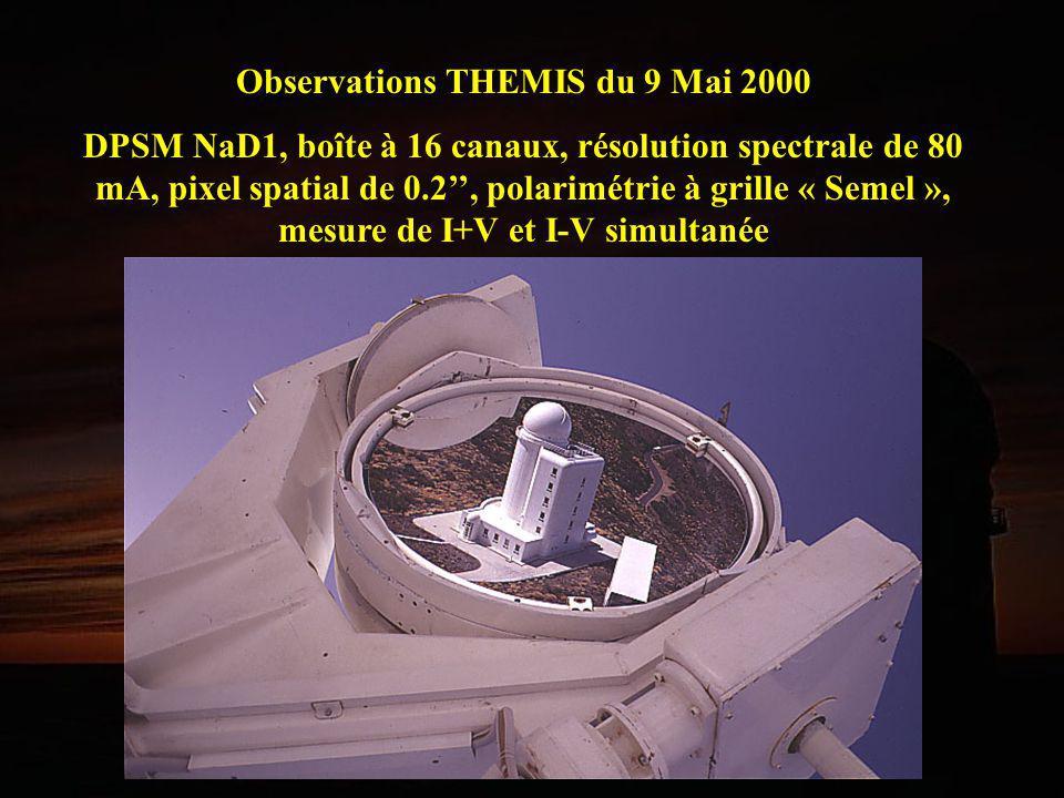 Observations THEMIS du 9 Mai 2000 DPSM NaD1, boîte à 16 canaux, résolution spectrale de 80 mA, pixel spatial de 0.2, polarimétrie à grille « Semel »,