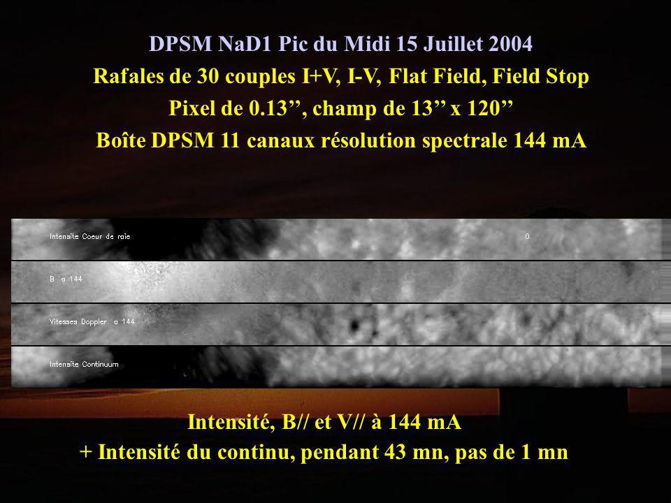 DPSM NaD1 Pic du Midi 15 Juillet 2004 Rafales de 30 couples I+V, I-V, Flat Field, Field Stop Pixel de 0.13, champ de 13 x 120 Boîte DPSM 11 canaux rés