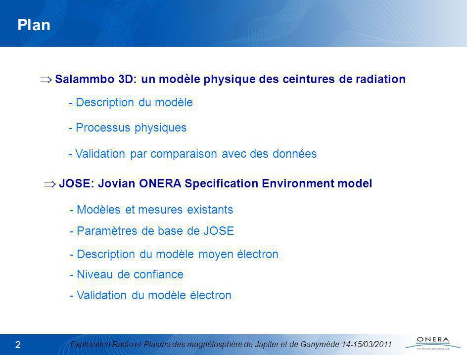 Exploration Radio et Plasma des magnétosphère de Jupiter et de Ganymède 14-15/03/2011 2 Plan Salammbo 3D: un modèle physique des ceintures de radiation JOSE: Jovian ONERA Specification Environment model - Description du modèle - Processus physiques - Validation par comparaison avec des données - Modèles et mesures existants - Paramètres de base de JOSE - Description du modèle moyen électron - Niveau de confiance - Validation du modèle électron