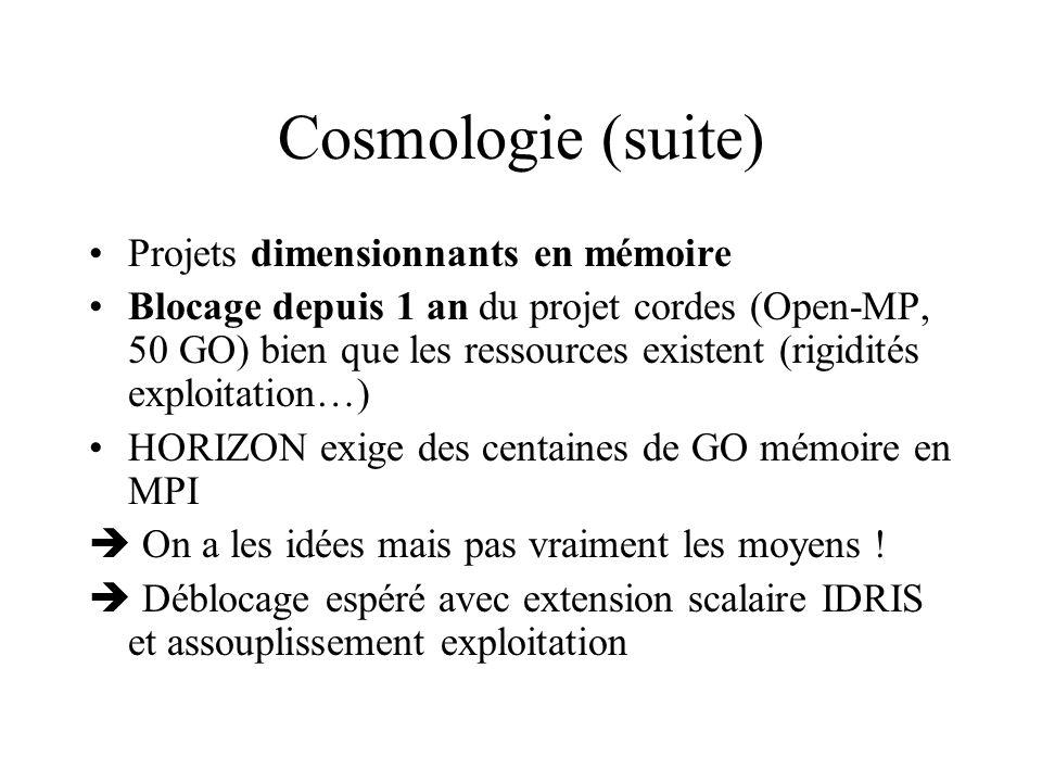 Cosmologie (suite) Projets dimensionnants en mémoire Blocage depuis 1 an du projet cordes (Open-MP, 50 GO) bien que les ressources existent (rigidités exploitation…) HORIZON exige des centaines de GO mémoire en MPI On a les idées mais pas vraiment les moyens .
