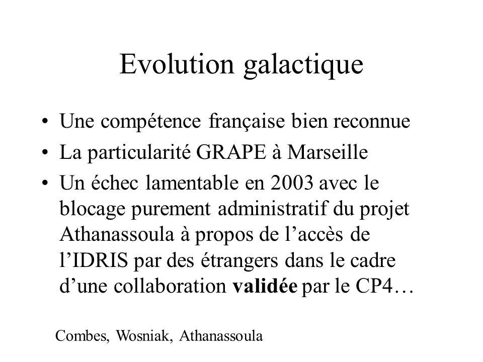 Evolution galactique Une compétence française bien reconnue La particularité GRAPE à Marseille Un échec lamentable en 2003 avec le blocage purement administratif du projet Athanassoula à propos de laccès de lIDRIS par des étrangers dans le cadre dune collaboration validée par le CP4… Combes, Wosniak, Athanassoula