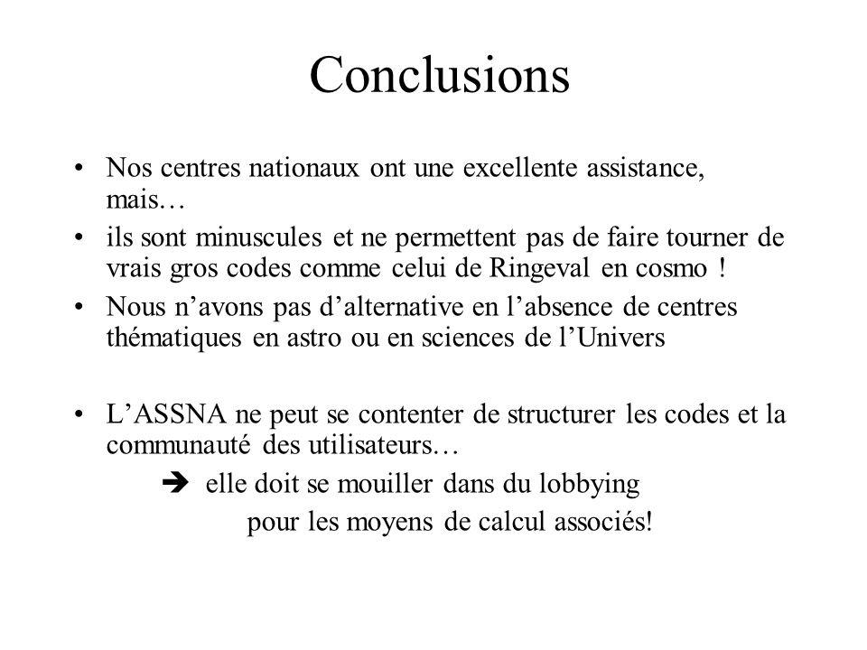 Conclusions Nos centres nationaux ont une excellente assistance, mais… ils sont minuscules et ne permettent pas de faire tourner de vrais gros codes comme celui de Ringeval en cosmo .