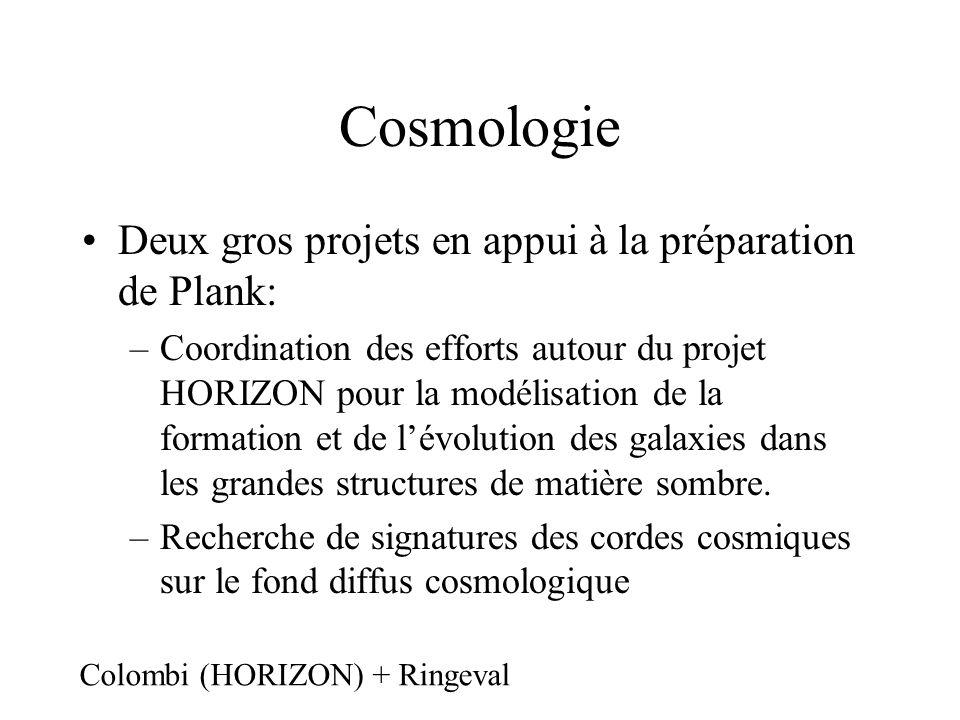 Cosmologie Deux gros projets en appui à la préparation de Plank: –Coordination des efforts autour du projet HORIZON pour la modélisation de la formation et de lévolution des galaxies dans les grandes structures de matière sombre.