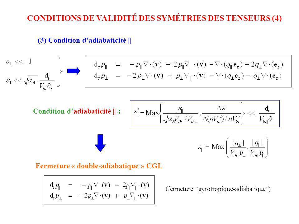 CONDITIONS DE VALIDITÉ DES SYMÉTRIES DES TENSEURS (4) (3) Condition dadiabaticité || Condition dadiabaticité || : Fermeture « double-adiabatique » CGL