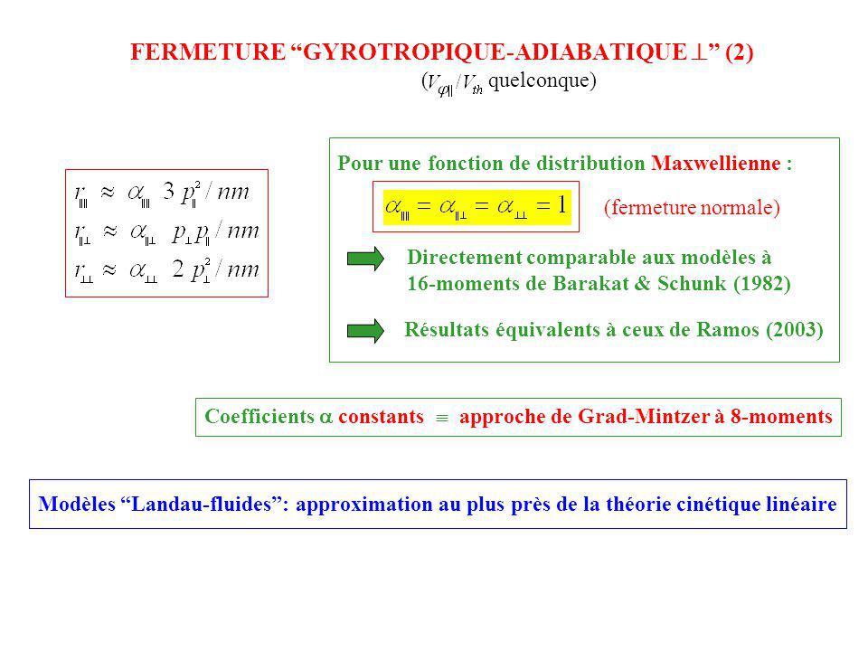 FERMETURE GYROTROPIQUE-ADIABATIQUE (2) ( quelconque) Pour une fonction de distribution Maxwellienne : (fermeture normale) Directement comparable aux m