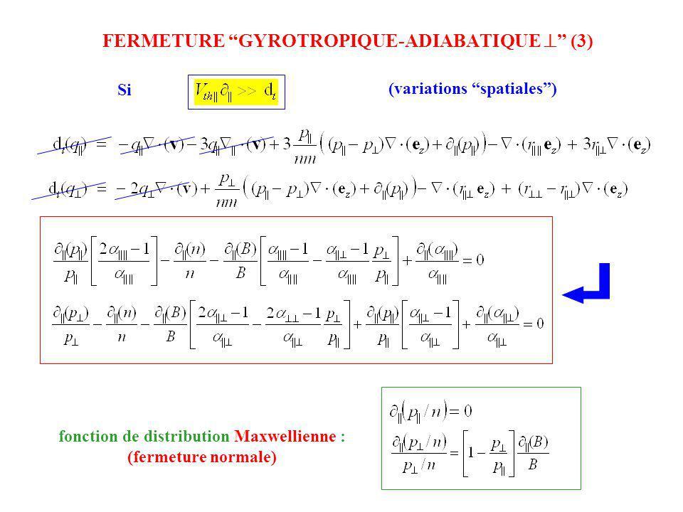 FERMETURE GYROTROPIQUE-ADIABATIQUE (3) (variations spatiales) Si fonction de distribution Maxwellienne : (fermeture normale)
