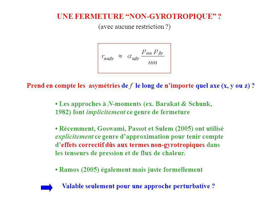 Prend en compte les asymétries de f le long de nimporte quel axe (x, y ou z) ? UNE FERMETURE NON-GYROTROPIQUE ? (avec aucune restriction ?) Les approc